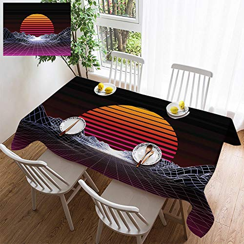 HOOMORE Simple Color Cotton Linen Tablecloth,Washable, Abstract 80s Style Retro Background Decorating Restaurant - Kitchen School Coffee Shop Rectangular 84×60in -