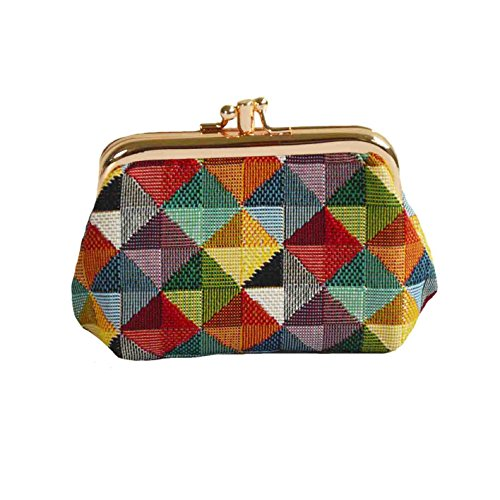 Colourful Geometric Shapes Tapestry Double Clasp Frame Coin Change Purse by Signare (FRMP-MTRI) -
