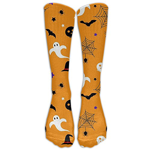 FUNINDIY Happy Halloween Compression Socks Soccer Socks Crew Socks For Running,Medical,Athletic,Edema,Diabetic,Varicose Veins,Travel,Pregnancy,Shin -