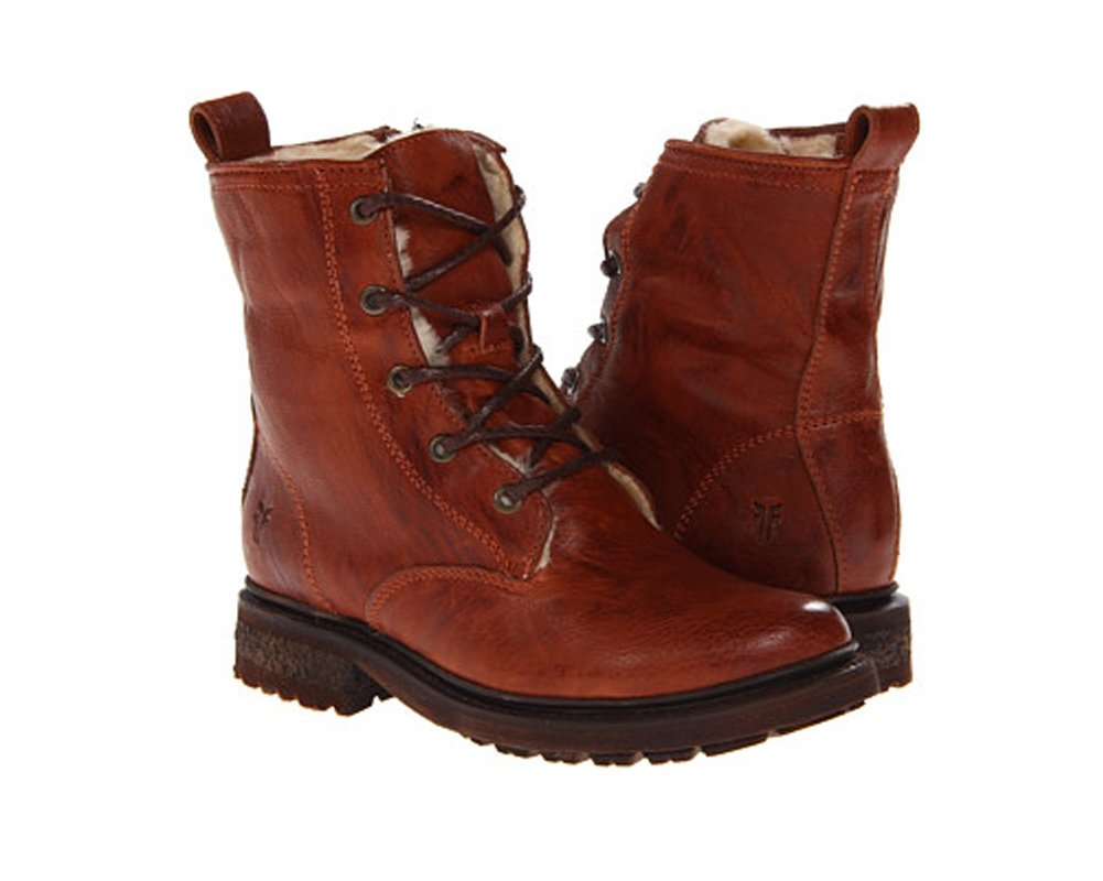 FRYE Women's Valerie Shearling Lace-Up Boot B00BGBRX8E 10 B(M) US|Cognac Vintage/Shearling