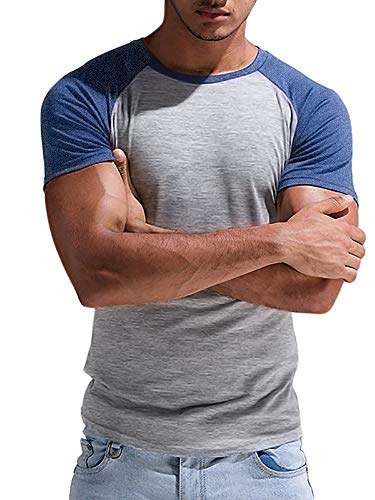 Mens Short Sleeve Raglan T Shirt Slim Fit Muscle Workout Crewneck Bodybuilding Fitness Jersey Tee Tops Blue ()