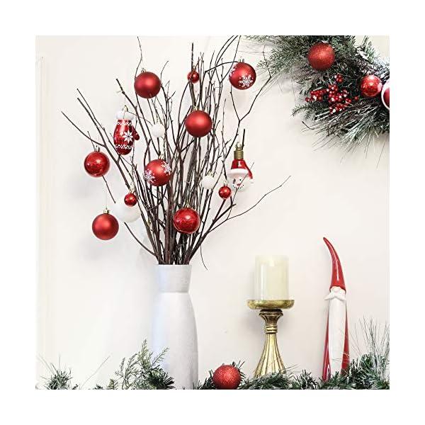 Victor's Workshop Addobbi Natalizi 100 Pezzi di Palline di Natale, Oh Cervo Rosso e Bianco Infrangibile Palla di Natale Ornamenti Decorazione per la Decorazione Dell'Albero di Natale 5 spesavip