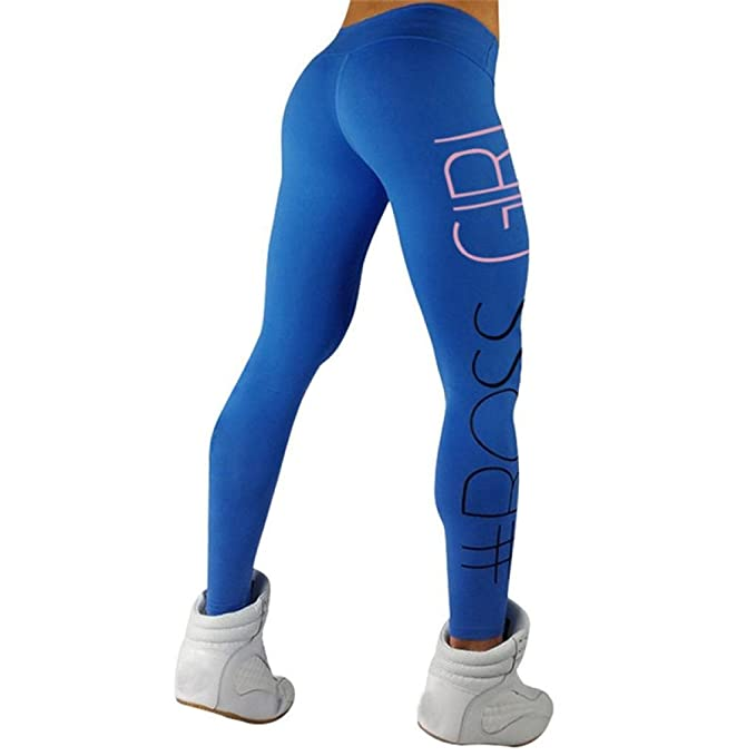 Leggings de Fitness para Mujeres,Pantalones Impresión de Cartas atléticos de la Yoga