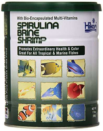 Brine Shrimp Diet - Hikari Bio-Pure Freeze Dried Spirulina Brine Shrimp Cubes for Pets, 1.76-Ounce