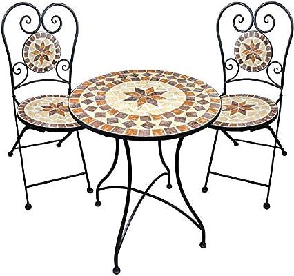 Muebles de jardín Mesa de Mosaico 2 sillas Mesa y sillas Mosaico de Mesa de Bar con sillas para Sentarse Muebles de terraza balcón Mesa con sillas: Amazon.es: Jardín