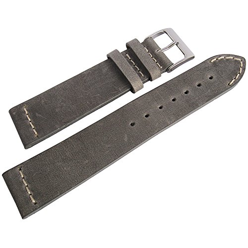 ColaReb 22mm Venezia Grey Leather Mens Watch Strap Made in Italy