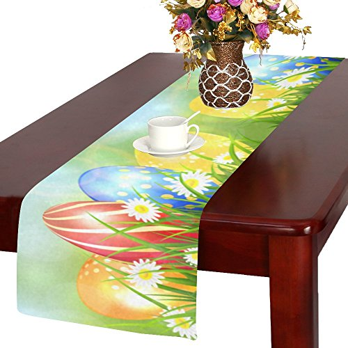 Easter Egg Table Runner - Artsadd Happy Easter Colorful Eggs Kitchen Dining Table Runner 14x72 inch For Dinner Parties, Events, Decor