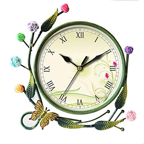 girlsight Iron Art Living Room Butterfly Flower Leaf Decorative Non-Ticking Quartz, Analog Large Numerals Bedside Table Desk Alarm Clock-013.Abstract, Background, Flowers, Conceptual