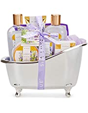 Spa Luxetique Spa Gift Baskets for Women, Relaxing Lavender Fragrance, Luxurious 8pc Bath Gift Set, Cute Bath Tub Holder, Bubble Bath, Bath Bombs, Body Butter & More. Perfect Gifts for Women, Birthday & Anniversary Gift Idea