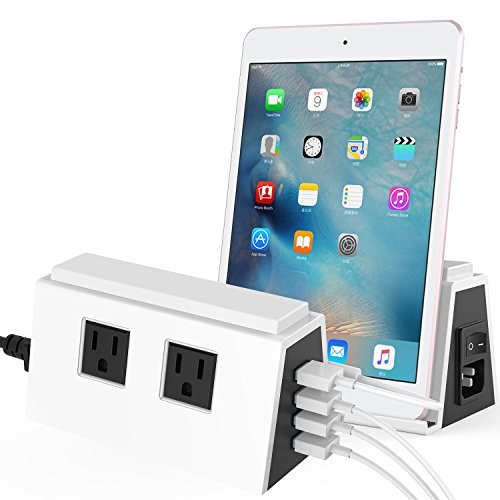 Charging Station, Ancreu 4 USB Multi-Port Charging Power Strip Surge Protector with Night Light Lamp for Baby Bedroom, 2AC Outlets and Built-in Holder Stand for iPhone, iPad, Tablet