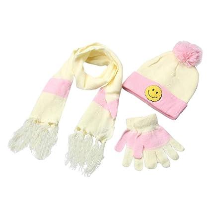 915296b735e Amazon.com  Kids Toddler Gloves and Hat Set Scarf+Gloves+Hats Baby Boy  Girls Winter Warm Kit (Beige)  Arts