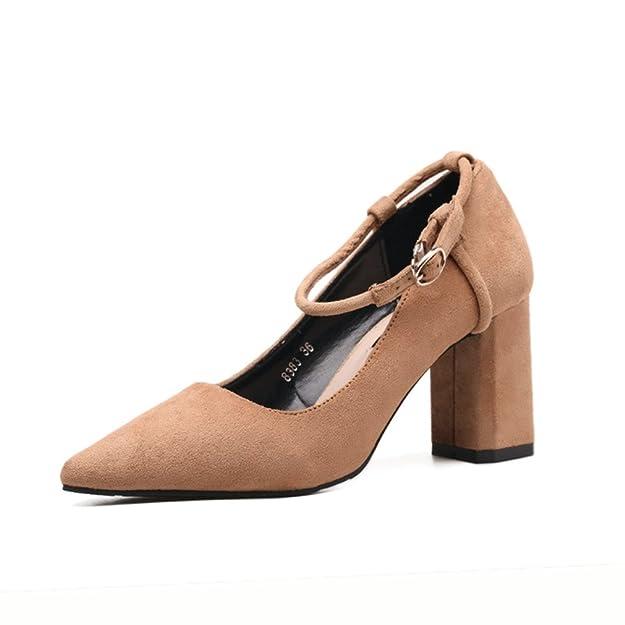 Unbekannt Damen Pumps Weich Nubukleder Atmungsaktiv Rutschfest Gummi Sohle Bequem Blockabsatz Riemchen Schuhe