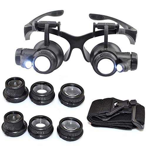 iMeshbean® 10 ×15× 20× 25× Adjustable Led Magnifier Double Eye Glasses Loupe Lens Jeweler Watch Repair Tool Kit - Eyewear Repair Usa