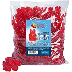 Gummy Bears Bulk - Red Gummi Bears - Wild Cherry Gummy Bears - Bulk Candy Gummies 5 LB
