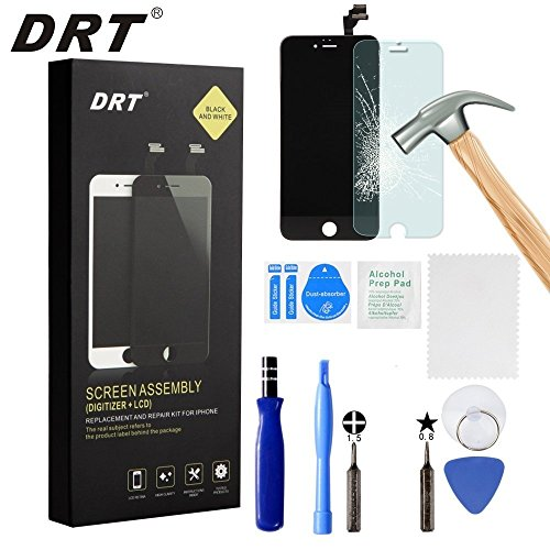 iPhone 6 Screen Replacement Black LCD Display Touch Screen Digitizer Frame Assembly Full Set with Free Tools and DRT Professional Glass Screen Protector for iPhone 6 (4.7 inches) (Black)