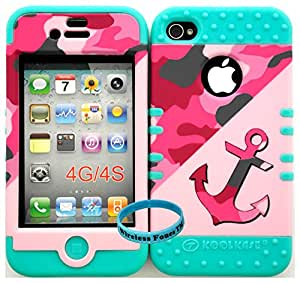 Wireless Fones TM Bumper Case for Iphone 4 4s Anchor on Pink Random Military Camo Hard Plastic Snap on Baby Teal Silicone Gel (Included: Wristband Exclusively By Wirelessfones TM)