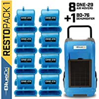 BlueDri Resto Pack 1, 8x One-29 Air Movers Carpet Dryer Blower Floor Fan & 1x BD-76 Pint Commercial Dehumidifier, Blue