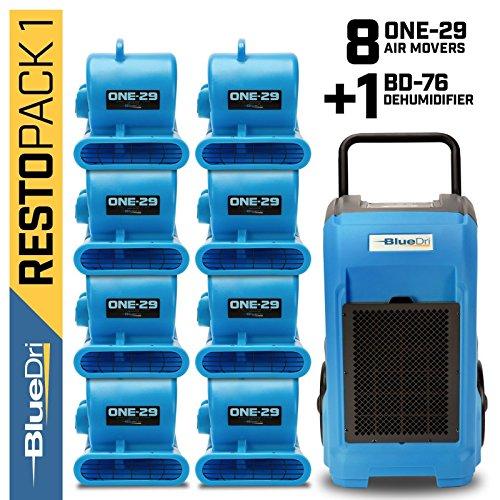 BlueDri Resto Pack 1, 8X One-29 Air Movers Carpet Dryer Blower Floor Fan & 1x BD-76 Pint Commercial Dehumidifier, Blue ()
