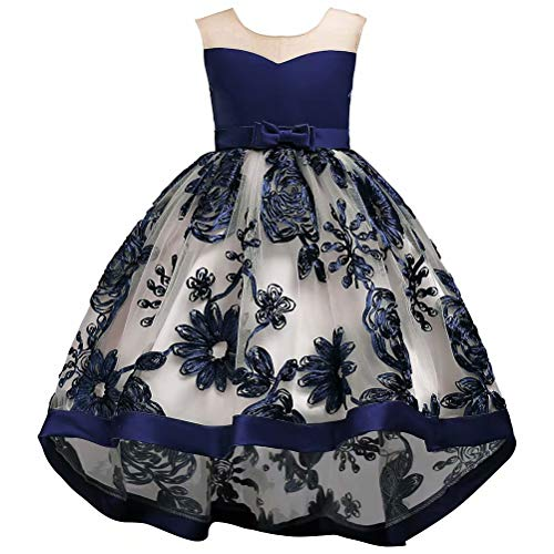 Lilibridal  Tulle Flower Girl Dress High Low for Wedding Kids Satin Pageant Ball Gowns, Navy Blue , 140