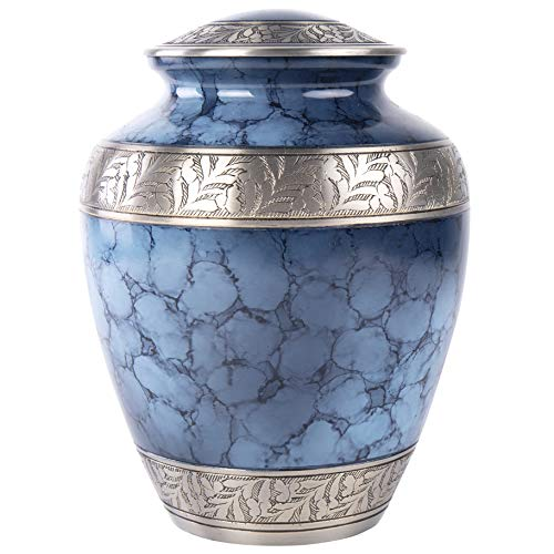 GSM Brands Cremation Urn Holds Adult Human Ashes – Large Handcrafted Funeral Memorial with Striking Blue Design Brass – 10 Inch Height x 8 Inch Width