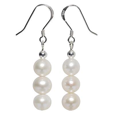 Ohrschmuck Perlen Damen Ohrringe Ohrhänger Muschelkernperlen /& 925 Silber weiß