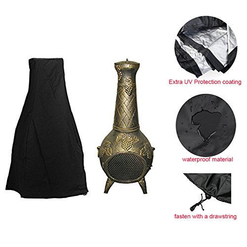 Chiminea Cover - Premium Outdoor Cover with Durable Waterproof 190T Polyster Material, Outdoor Garden Heater Cover UV Protective Chimney Fire Pit Cover