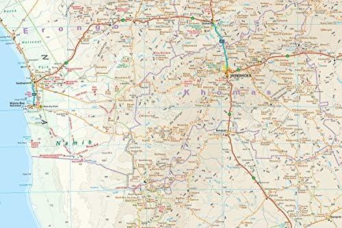 Namibia, mapa impermeable de carreteras. Escala 1:1.200.000 ...