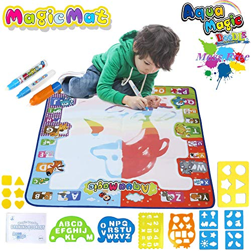 WASANJO Aqua Magic Mat, Water Doodle Mat - Kids Painting Writing Doodle Board Toy - Color Doodle Drawing Mat - Educational Toys for 1 2 3 4 5 6 7 8 9 10 11 12 Year Old Girls Boys Age to Use