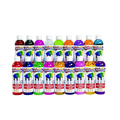 Colorations Liquid Watercolor Paints 8 oz. Classroom Supplies for Arts and Crafts Multicolor Variety Pack (Pack of 18) ()
