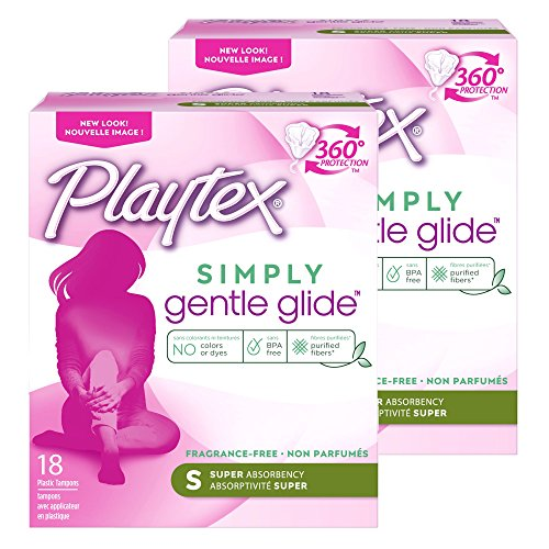 Applicator Plastic Glide Tampon Gentle (Playtex Gentle Glide Tampons with Triple Layer Protection, Super, Unscented - 18 Count (Pack of 2))