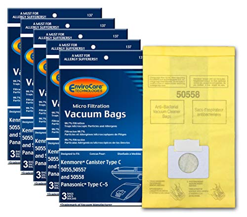 EnviroCare Replacement Micro Filtration Vacuum Bags to fit Kenmore Canister Q. 5055, 50557 and 50558 Panasonic Type C-5 Models 15 Pack, 15, Yellow