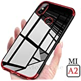 mobistyle Electroplating Soft Silicone Transparent TPU Back Case Cover for Xiaomi Mi Redmi A2 (Red)
