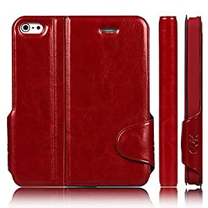 Shiny PU Leather Full Body Case for iPhone 5/5S(Assorted Color) --- COLOR:Red