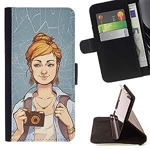 Momo Phone Case / Flip Funda de Cuero Case Cover - Hipster Chica;;;;;;;; - HTC One M8