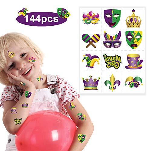 Omgouue 144 Colorful Mardi Gras Themed Party Favors - Temporary TATTOOS/12 Dozen/Teacher's Prizes Party -