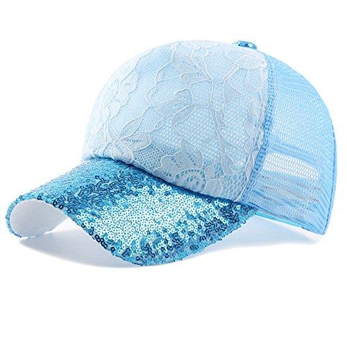 Maticr Floral Lace and Glitter Sequin Brim Adjustable Baseball Cap Backward Hats (Light Blue)