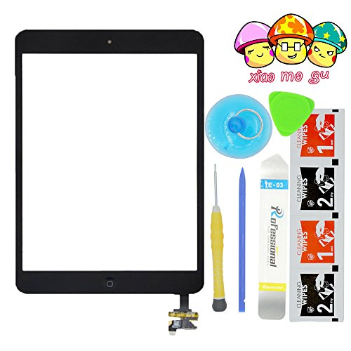 XIAO MO GU(TM) iPad Mini& iPad Mini 2nd Touch Screen Digitizer Complete Assembly with IC Chip & Home Button Replacement Black(Adhesive + Tool Kit Included)