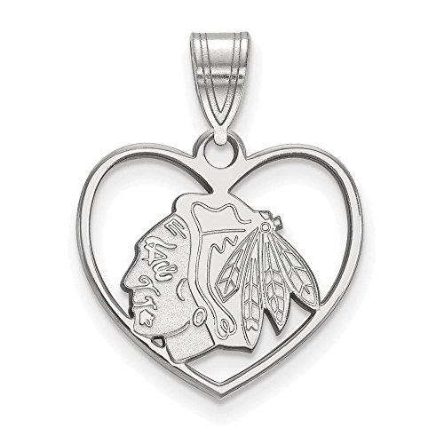 Chicago Blackhawks Pendant in Heart (Sterling Silver)