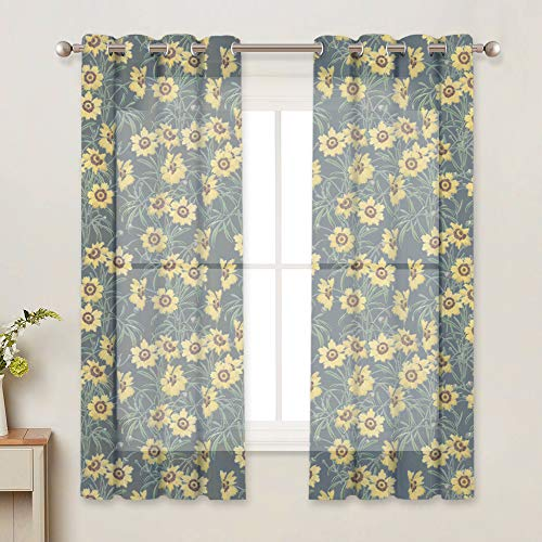 RYB HOME Yellow Sunflower Pattern Sheer Curtains, Semi Sheer Privacy Protect Light Filerting Printed Drapes Gromment Top for Living Room/Bedroom, W 52 x L 63 inches, Soft Grey, 2 Panels ()