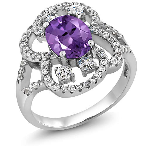 Gem Stone King 2.48 Ct Oval 9x7mm Purple Amethyst 925 Sterling Silver Ring Available 5,6,7,8,9