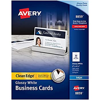 Amazon avery business cards for laser printers 5376 ivory avery printable business cards inkjet printers 200 cards 2 x 35 clean edge heavyweight glossy 8859 reheart Image collections