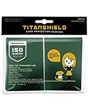 TitanShield (150 Sleeves/Green) Small Japanese Sized Trading Card Sleeves Deck Protector for Yu-Gi-Oh, Cardfight!! Vanguard & More
