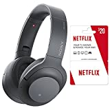 Sony WHH900N/B Hi-Res Noise Cancelling Wireless Bluetooth Headphones, Gray/Black Plus 2 (Two) Free Months of Netflix Service