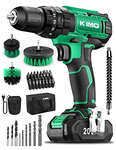 KIMO Cordless Drill Driver Kit, 20V Impact Drill Set w/Lithium-ion Battery/Charger & Cleaning Brush, 350 In-lb Torque, 3… 1