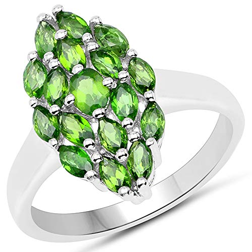 - Bonyak Jewelry Genuine Marquise Chrome Diopside Ring in Sterling Silver - Size 8.00