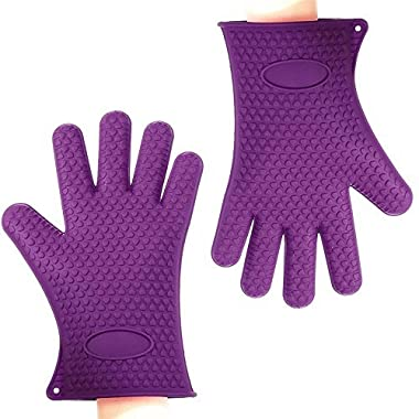Binwo Silicone Grilling Gloves - Best Heat Resistant Cooking Kitchen Pot Holders and Oven Mitts - Protective Baking Gloves - Barbecue Without Burning Your Hands-Purple