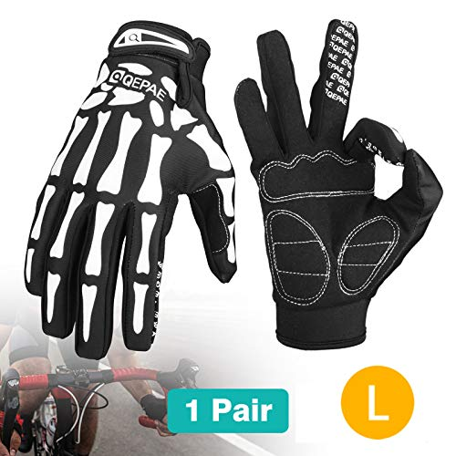 EEEKit Cycling Gloves, Riding Racing Motorcycle Skeleton Bone Sports Gloves Skull Bone Full Finger Gloves for Men and Women, L ()