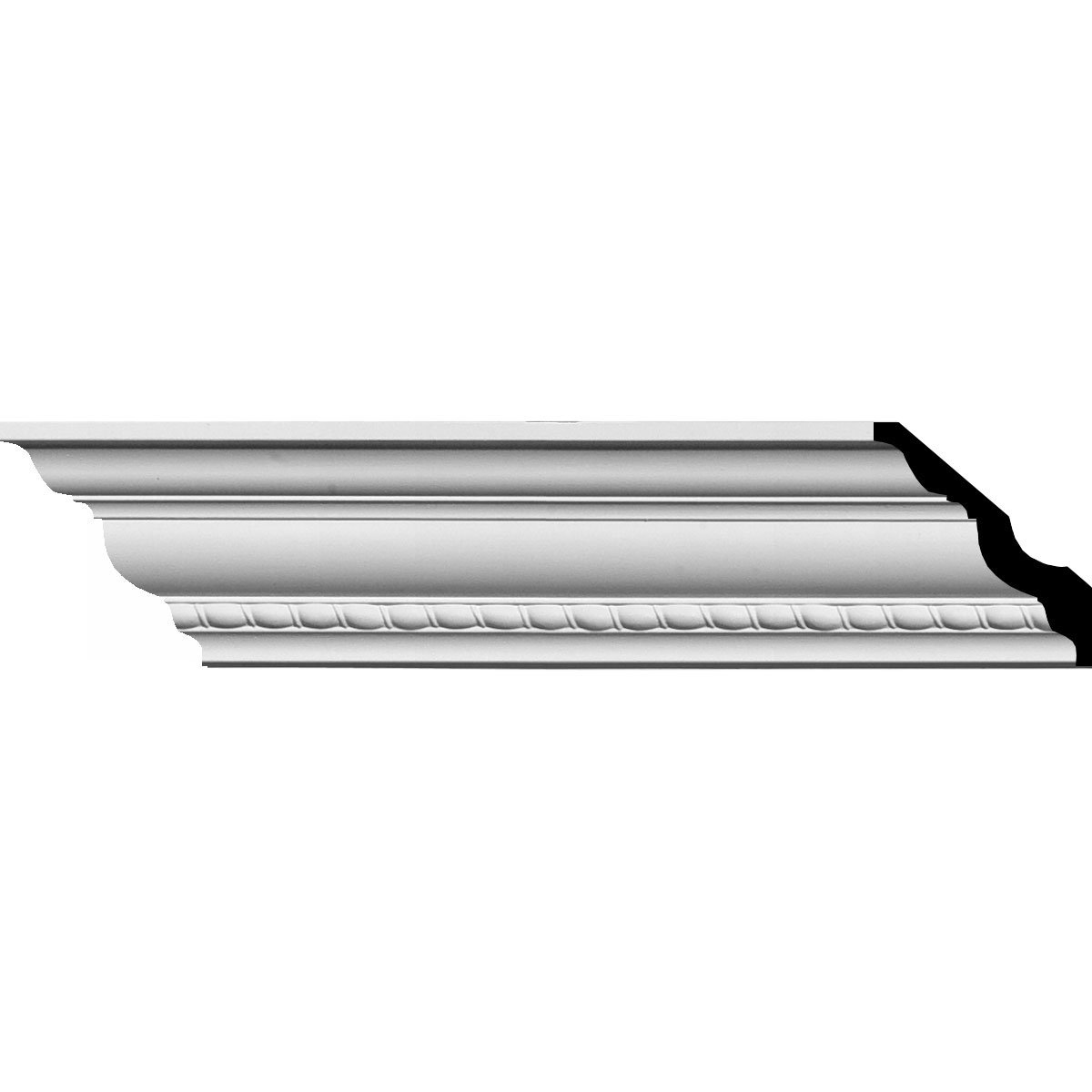 Ekena Millwork MLD02X02X04CR-CASE-12 3'' H x 3'' P x 4-1/4'' F x 94-1/2'' L Crendon Bead and Barrel Crown Molding (12-Pack)
