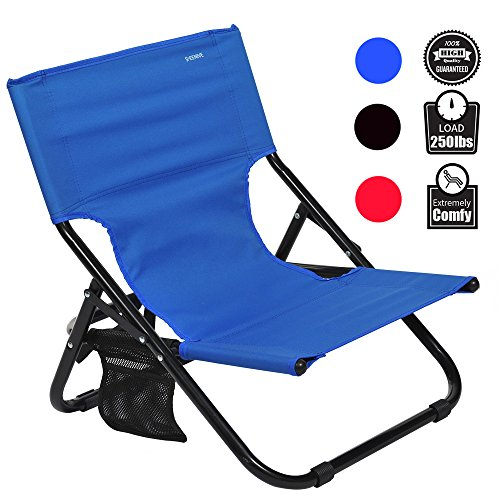 Armless Storage Chair - Sheenive Folding Camping Chair - Outdoor Comfortable Compact Low Profile Portable Armless Camping Chairs For Adults Kids Travel Summer with Strap And Pocket, Blue