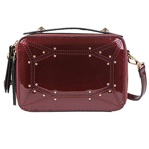 Roscloud@ Bolso pequeño bolso de hombro de mujer remaches de moda remaches pequeño bolso cuadrado bolso de mensajero ( Color : Negro ) Rojo